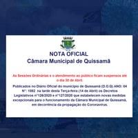 As Sessões Ordinárias e o atendimento ao público ficam suspensos até o dia 30 de Abril.