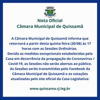 Câmara Municipal de Quissamã retornará Sessões Ordinárias sem público nesta quinta-feira (20).