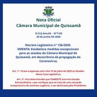Novo Decreto Estabelece medidas excepcionais para as sessões da Câmara Municipal de Quissamã, em decorrência da propagação do Coronavírus.