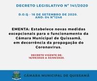 Novo Decreto estabelece novas medidas excepcionais para o funcionamento da Câmara Municipal de Quissamã, em decorrência da propagação do Coronavírus