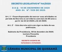 Novo Decreto Legislativo estabelece medidas excepcionais para o funcionamento da Câmara Municipal de Quissamã, em decorrência da propagação do Coronavírus
